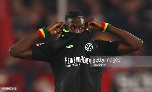Salif Sane of Hannover reacts during the Second Bundesliga match between VfB Stuttgart and Hannover 96 at MercedesBenz Arena on December 12 2016 in...