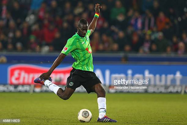 Salif sane of Hannover runs with the ball during the Bundesliga match between SC Freiburg and Hannover 96 at MAGE SOLAR Stadium on December 21 2013...