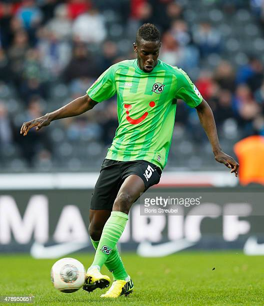 Salif Sane of Hannover runs with the ball during the Bundesliga match between Hertha BSC and Hannover 96 at Olympiastadion on March 15 2014 in Berlin...