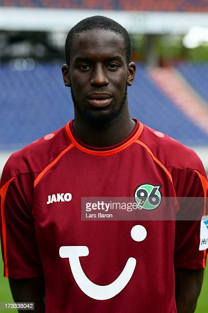 Salif Sane poses during the Hannover 96 team presentation at HDI Arena on July 11 2013 in Hanover Germany