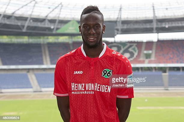 Salif Sane poses during the team presentation of Hannover 96 at HDIArena on July 13 2015 in Hanover Germany