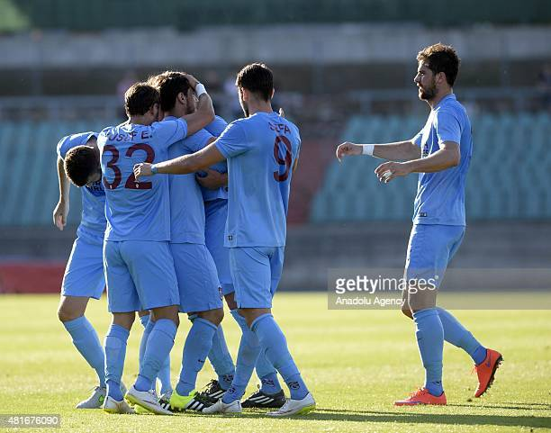 Salih Dursun of Trabzonspor celebrates his score during the UEFA Europa League 2015/2016 2nd Qualifying Round return match between Differdange 03 and...