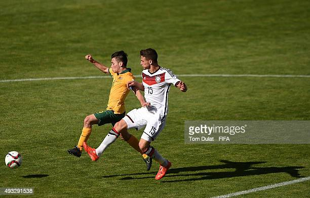 Salih Oezcan of Germany and Joe Caletti of Australia in action during the FIFA U17 World Cup Chile 2015 Group C match between Australia and Germany...