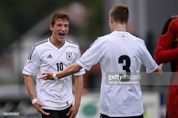 Salih Oezcan of Germany celebrates after scoring his team's first goal during the Under 16 Juniors International Friendly match between U16 Belgium...