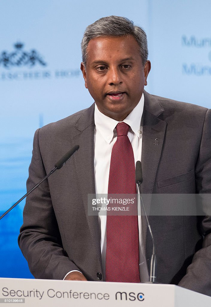 Salil Shetty, secretary general of Amnesty International, speaks at the 52nd Munich Security Conference (MSC) in Munich, southern Germany, on February 14, 2016. / AFP / THOMAS KIENZLE