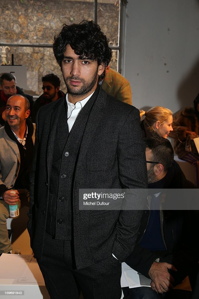Salim Kechiouche is seen on the front row during the Krisvanassche Men Autumn / Winter 2013 show as part of Paris Fashion Week on at Palais De Tokyo on January 18, 2013 in Paris, France.