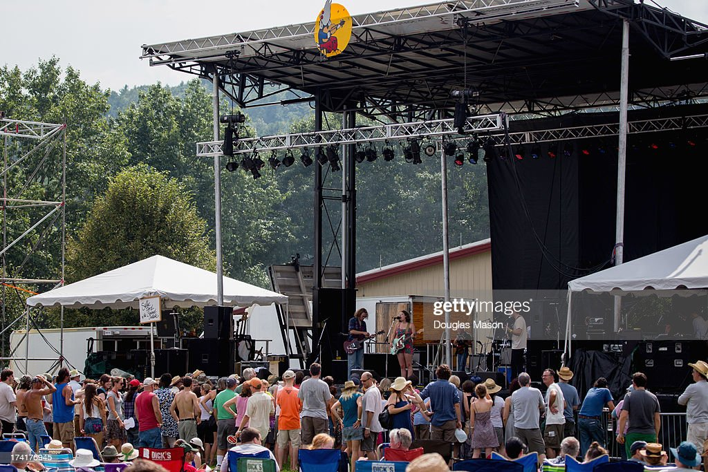 Sallie Ford and the Sound Outside performs during day 1 of the Green River Music Festival 2013 at Greenfield Community College on July 20 2013 in...