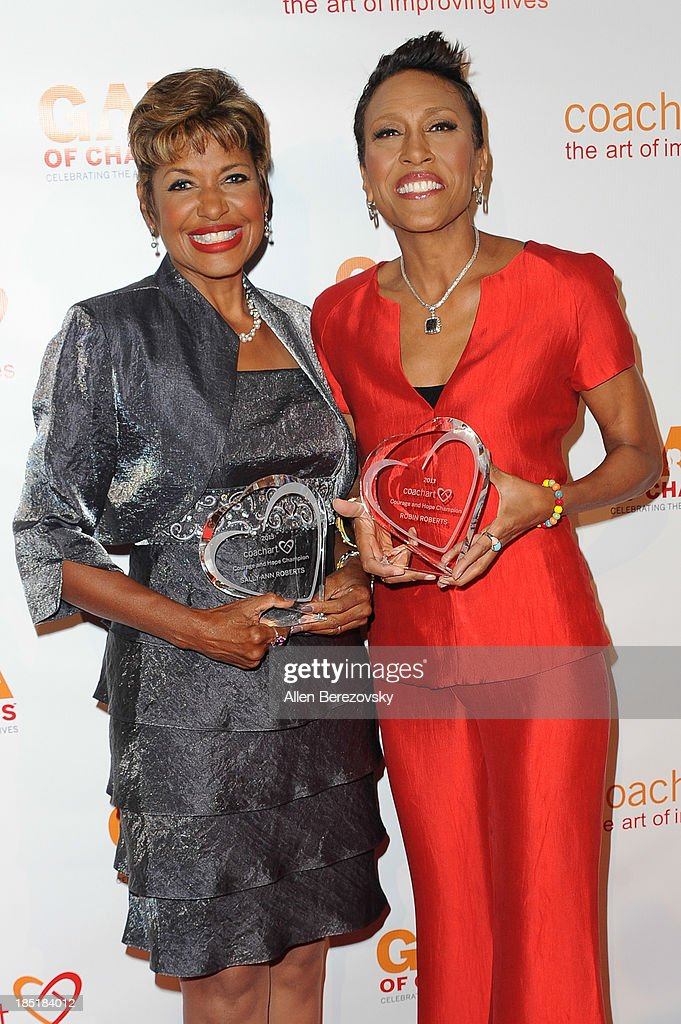 Sally Ann Roberts (L) and <a gi-track='captionPersonalityLinkClicked' href=/galleries/search?phrase=Robin+Roberts+-+Television+Anchor&family=editorial&specificpeople=4439371 ng-click='$event.stopPropagation()'>Robin Roberts</a> attend the CoachArt Gala of Champions at The Beverly Hilton Hotel on October 17, 2013 in Beverly Hills, California.