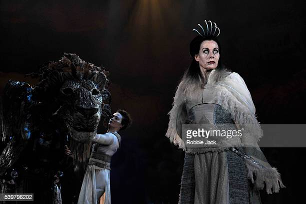 Sally Dexter as The White Witch and Jane Leaney as Aslan's head in Rupert Goold's stage adaptation of CS Lewis's The Lion the Witch and the Wardrobe...
