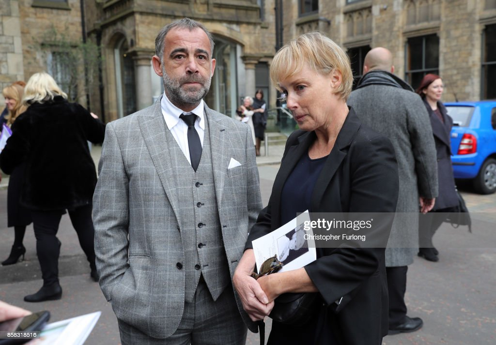 Sally Dynevor and Michael Le Vell depart the funeral of actress Liz Dawson at Salford Cathedral on October 6, 2017 in Salford, England. Actress Liz Dawn who died aged 77, played Vera Duckworth in Coronation Street for 34 years. She was diagnosed with lung disease emphysema and was written out of the show in 2008 at her own request.