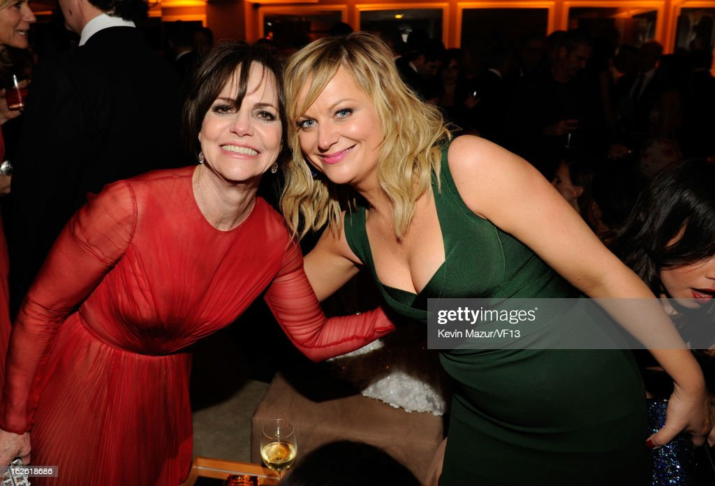 Sally Field and Amy Poehler attend the 2013 Vanity Fair Oscar Party hosted by Graydon Carter at Sunset Tower on February 24, 2013 in West Hollywood, California.