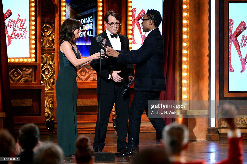 Sally Field and Matthew Broderick present Billy Porter with the Tony Award for Best Performance by an Actor in a Leading Role in a Play for 'Kinky Boots' at The 67th Annual Tony Awards at Radio City Music Hall on June 9, 2013 in New York City.
