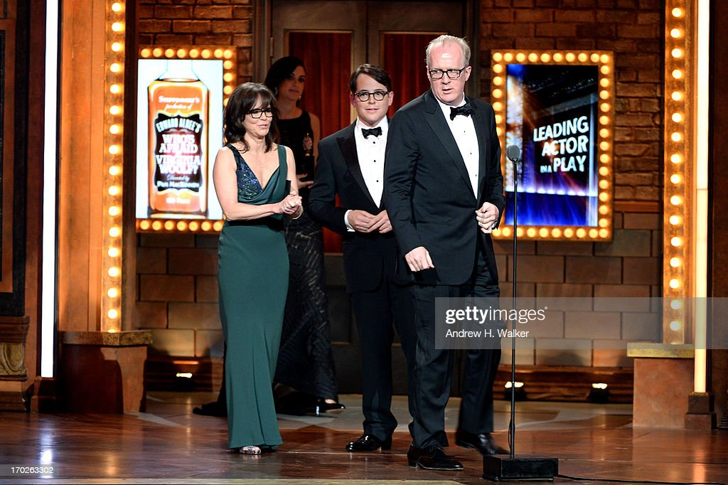 Sally Field and Matthew Broderick present Tracy Letts with the Tony Award for Best Performance by an Actor in a Leading Role in a Play for 'Who's Afraid of Virginia Woolf?' at The 67th Annual Tony Awards at Radio City Music Hall on June 9, 2013 in New York City.