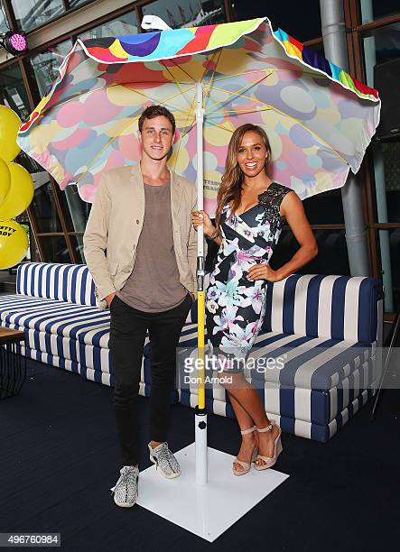 Sally Fitzgibbons and Cameron McEvoy arrive ahead of the Pretty Shady launch at Cafe Del Mar on November 12 2015 in Sydney Australia