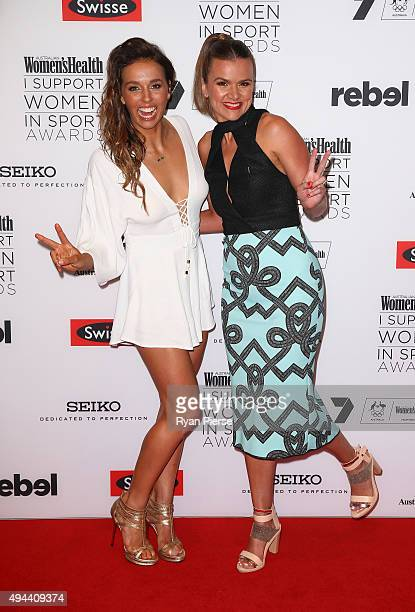 Sally Fitzgibbons and Felicity Harley arrive ahead of the Women's Health I Support Women in Sport Awards at Hordern Pavilion on October 27 2015 in...