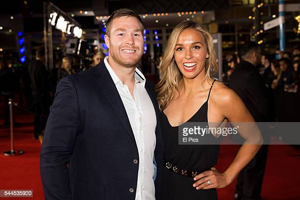 Sally Fitzgibbons and Trent Merrin arrive ahead of the Jason Bourne Australian Premiere at Hoyts Entertainment Quarter on July 3 2016 in Sydney...