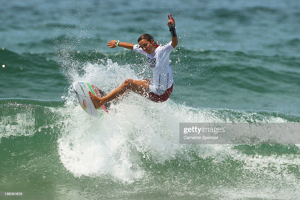 Sally Fitzgibbons of Australia competes in the Women's Final of the 2012 Australian Surfing Open on February 19, 2012 in Manly, Australia.