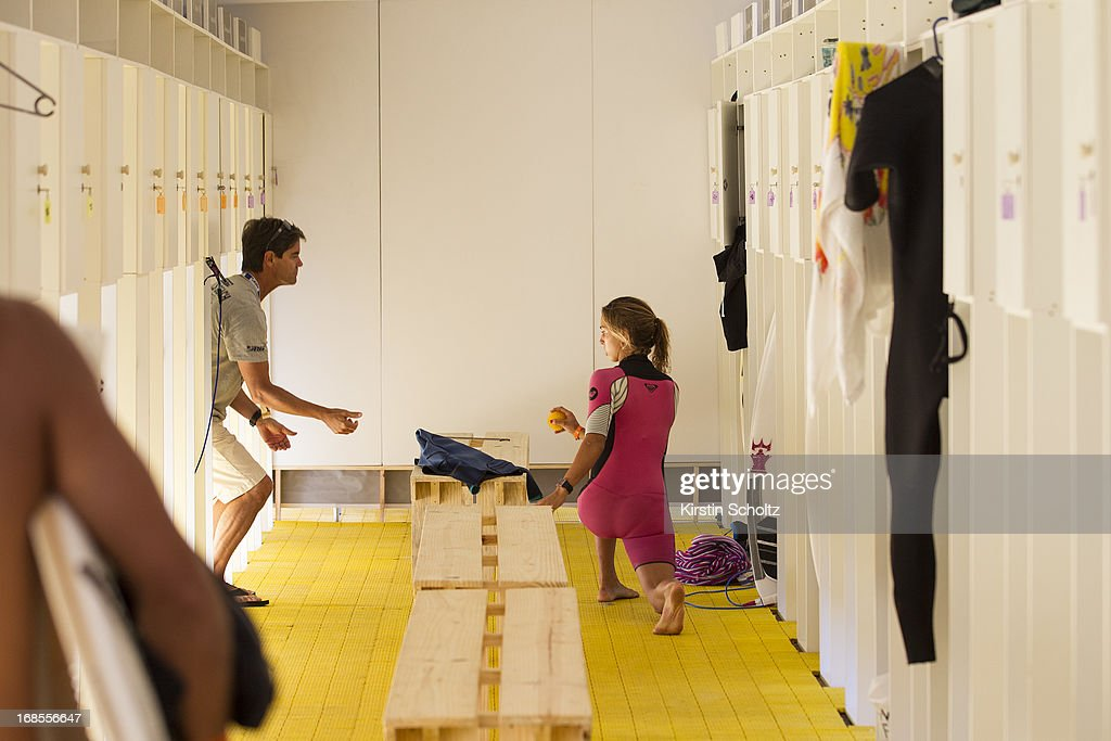 <a gi-track='captionPersonalityLinkClicked' href=/galleries/search?phrase=Sally+Fitzgibbons&family=editorial&specificpeople=4113410 ng-click='$event.stopPropagation()'>Sally Fitzgibbons</a> of Australia warms up in the locker room the Colgate Plax Girls Pro on May 11, 2013 in Rio de Janeiro, Brazil.
