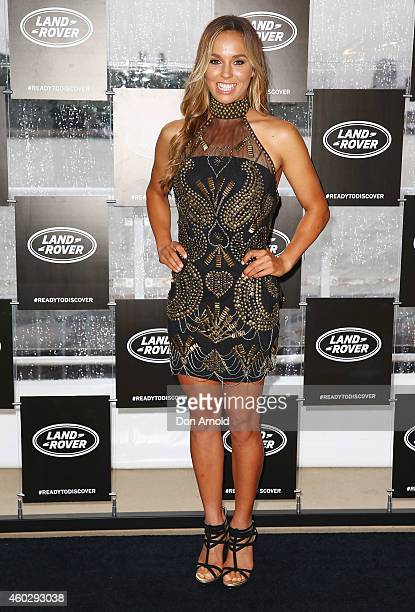 Sally Fitzgibbons poses at a launch for the Land Rover Discovery Sport at the Royal Botanical Gardens on December 11 2014 in Sydney Australia