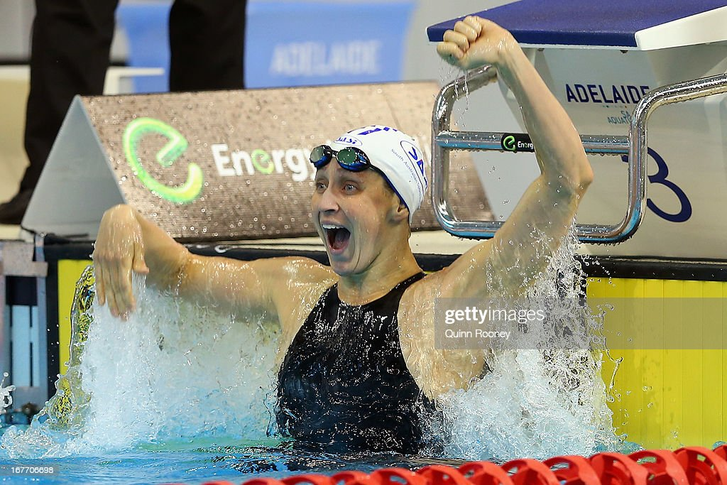 Sally Foster of Australia celebrates winning the Women's 100 Metre Breaststroke Final during day three of the Australian Swimming Championships at SA Aquatic and Leisure Centre on April 28, 2013 in Adelaide, Australia.