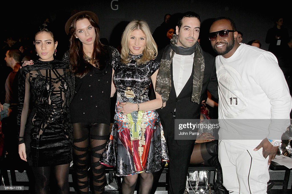 Sally Golan, Liliana Matthaeus, Hofit Golan, Mohammed Al Turki and Rico Love attend the Falguni & Shane Peacock Fall 2013 fashion show during Mercedes-Benz Fashion Week at The Studio at Lincoln Center on February 13, 2013 in New York City.