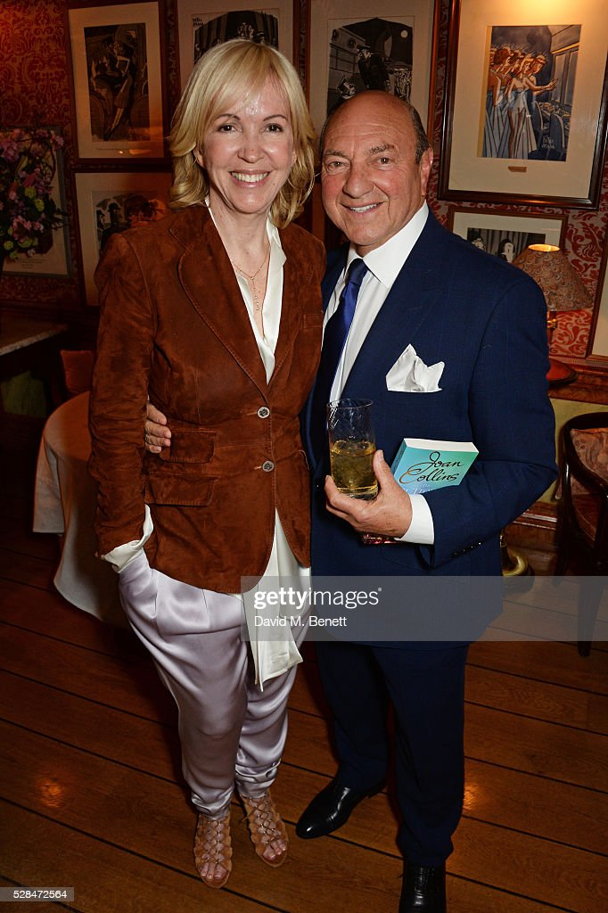 Sally Greene (L) and Arnold Crook attend the launch of Dame Joan Collins' new book 'The St. Tropez Lonely Hearts Club' at Harry's Bar on May 5, 2016 in London, England.