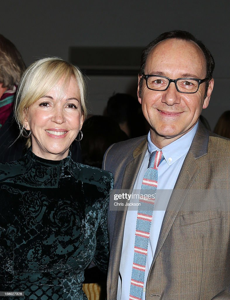 Sally Greene and <a gi-track='captionPersonalityLinkClicked' href=/galleries/search?phrase=Kevin+Spacey&family=editorial&specificpeople=202091 ng-click='$event.stopPropagation()'>Kevin Spacey</a> attend the VIP backstage dinner ahead of this year's Old Vic 24 Hour Musicals Celebrity Gala at The Old Vic Theatre on December 9, 2012 in London, England.