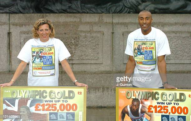 Sally Gunnell and Colin Jackson during Olympic Heroes Launch 'Olympic Gold Scratchcard' at Trafalgar Square in London Great Britain