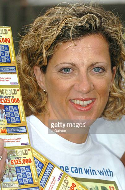 Sally Gunnell during Olympic Heroes Launch 'Olympic Gold Scratchcard' at Trafalgar Square in London Great Britain