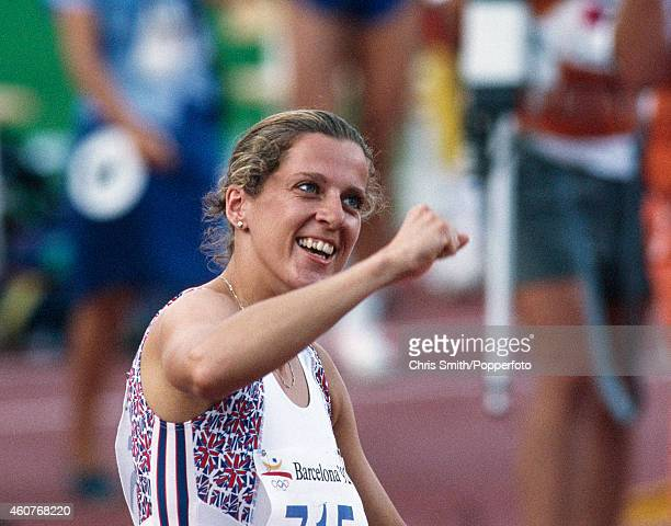 Sally Gunnell of Great Britain celebrates after winning the women's 400 metres hurdles during the Summer Olympic Games in Barcelona circa August 1992