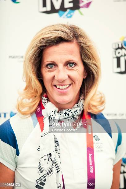 Sally Gunnell Olympic champion 400m hurdles in Barcelona 1992 poses backstage during BT London Live at Hyde Park on August 1 2012 in London United...