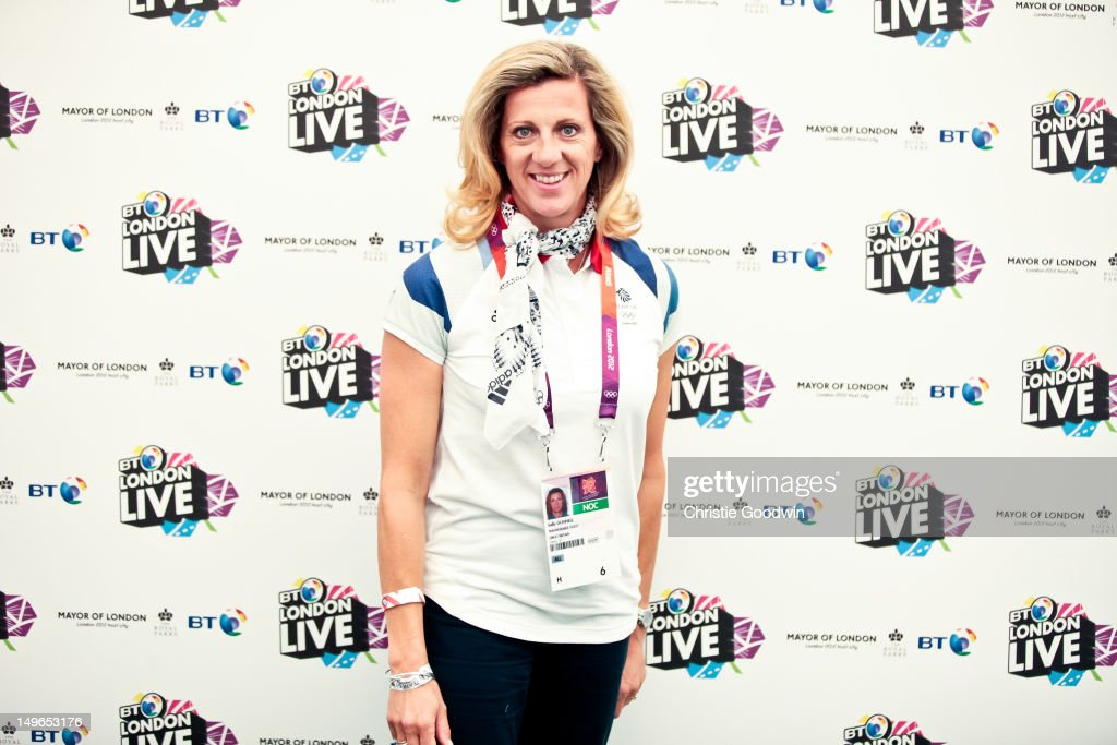 <a gi-track='captionPersonalityLinkClicked' href=/galleries/search?phrase=Sally+Gunnell&family=editorial&specificpeople=234403 ng-click='$event.stopPropagation()'>Sally Gunnell</a> , Olympic champion 400m hurdles in Barcelona 1992, poses backstage during BT London Live at Hyde Park on August 1, 2012 in London, United Kingdom.
