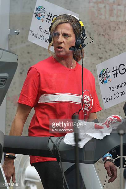 Sally Gunnell takes part in a 26 hour treadmill run for Sports Reflief at BBC Radio One on March 20 2014 in London England