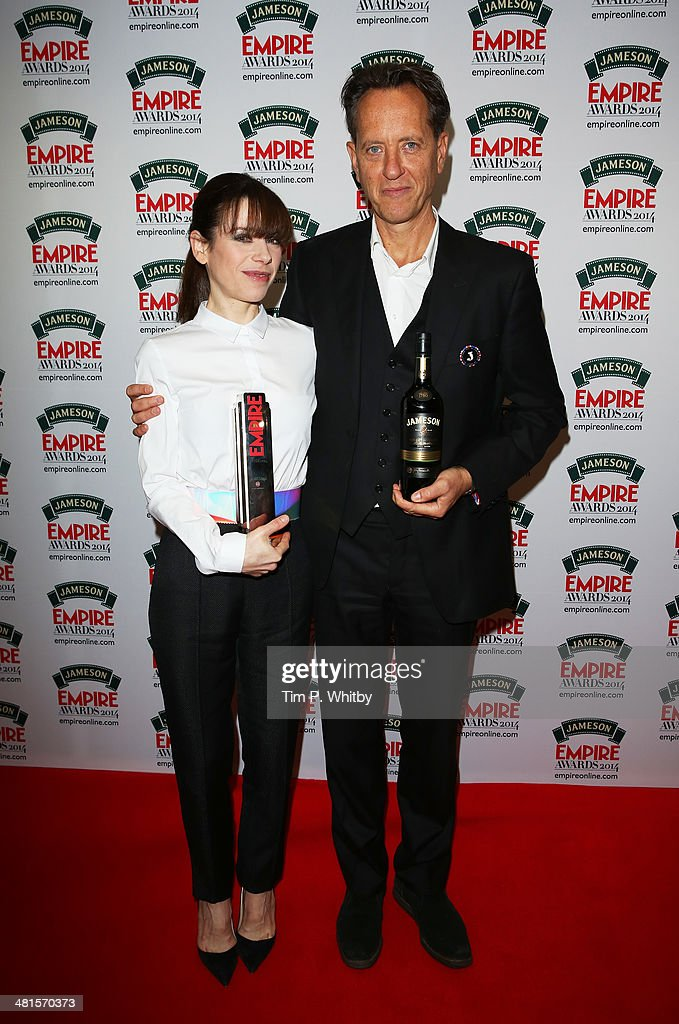 Sally Hawkins, winner of Best Supporting Actress for 'Blue Jasmine', and Richard E Grant during the Jameson Empire Awards 2014 at the Grosvenor House Hotel on March 30, 2014 in London, England. Regarded as a relaxed end to the awards show season, the Jameson Empire Awards celebrate the film industry's success stories of the year with winners being voted for entirely by members of the public. Visit empireonline.com/awards2014 for more information.