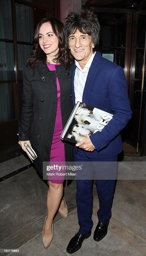Sally Humphreys and Ronnie Wood at the Downtown Mayfair restaurant for Heather Kerzner's birthday celebration on March 19, 2013 in London, England.