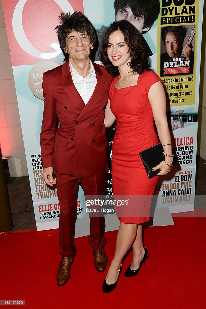 Sally Humphreys and Ronnie Wood attend The Q Awards 2013 at Grosvenor House on October 21, 2013 in London, England.