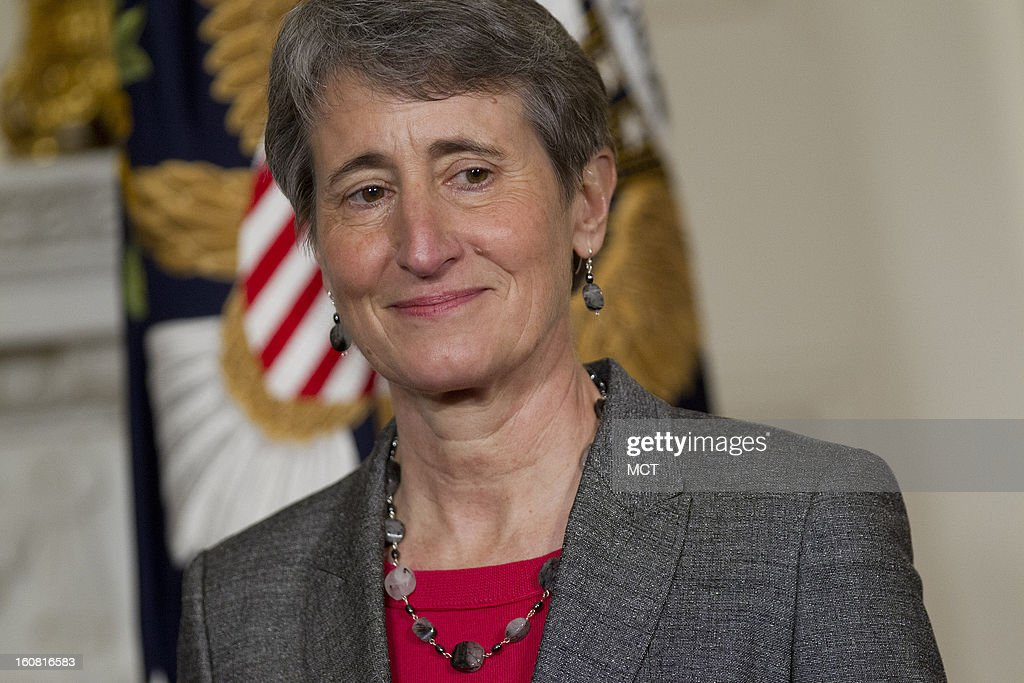 Sally Jewell, chief executive officer of Recreational Equipment Inc. and nominee to become secretary of the U.S. Interior Department, listens during her nomination announcement with U.S. President Barack Obama, unseen, at the White House in Washington, D.C., on Wednesday, February 6, 2013.