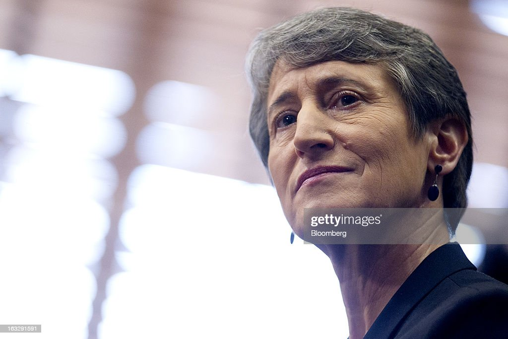 Sally Jewell, president and chief executive officer of Recreational Equipment Inc. (REI) and nominee for U.S. Interior secretary, listens during a Senate Energy and Natural Resources Committee hearing in Washington, D.C., U.S., on Thursday, March 7, 2013. Jewell disclosed she owns shares in companies such as ConocoPhillips and Exxon Mobil Corp., which hold drilling leases managed by the Interior Department. Photographer: Andrew Harrer/Bloomberg via Getty Images