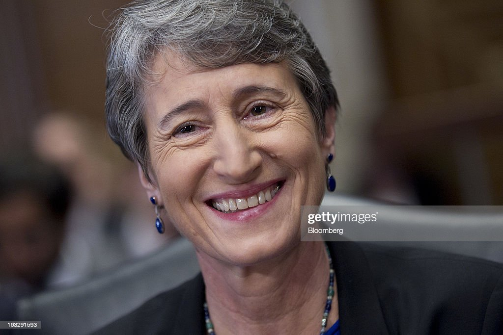 Sally Jewell, president and chief executive officer of Recreational Equipment Inc. (REI) and nominee for U.S. Interior secretary, arrives to a Senate Energy and Natural Resources Committee hearing in Washington, D.C., U.S., on Thursday, March 7, 2013. Jewell disclosed she owns shares in companies such as ConocoPhillips and Exxon Mobil Corp., which hold drilling leases managed by the Interior Department. Photographer: Andrew Harrer/Bloomberg via Getty Images