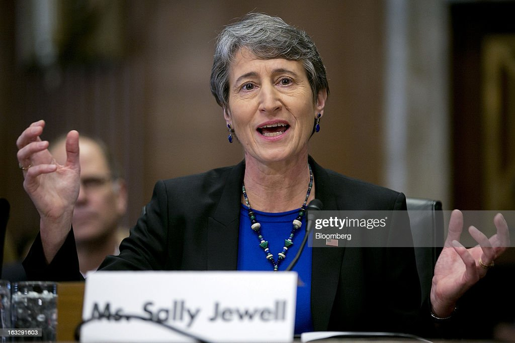 Sally Jewell, president and chief executive officer of Recreational Equipment Inc. (REI) and nominee for U.S. Interior secretary, speaks during a Senate Energy and Natural Resources Committee hearing in Washington, D.C., U.S., on Thursday, March 7, 2013. Jewell disclosed she owns shares in companies such as ConocoPhillips and Exxon Mobil Corp., which hold drilling leases managed by the Interior Department. Photographer: Andrew Harrer/Bloomberg via Getty Images