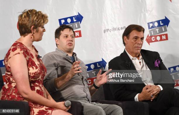 Sally Kohn Anthony Atamanuik and Robert Davi at the 'Trump Genius or Lunatic' panel during Politicon at Pasadena Convention Center on July 29 2017 in...