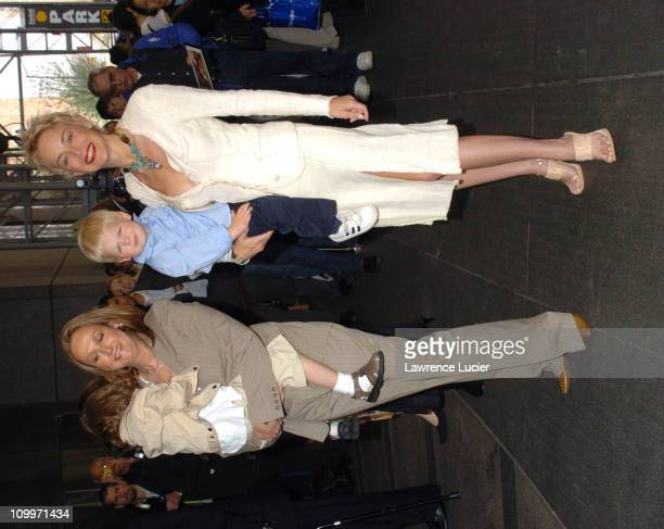 Sally Morrison and son Tobie with Sharon Stone and Roan Bronstein