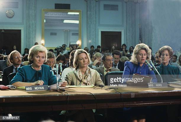 Sally Nevius and Tipper Gore of the PMRC appear at a senate hearing at Capitol Hill Washington DC United States 19th September 1985 Representatives...