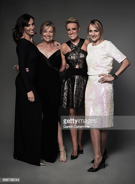 Sally Nugent Carol Kirkwood Stephanie McGovern and Louise Minchin poses in the Portrait Studio during the 21st National Television Awards at The O2...