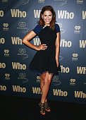Sally Obermeder poses at WHO's sexiest people party 2014 at Fox Studios on October 22 2014 in Sydney Australia