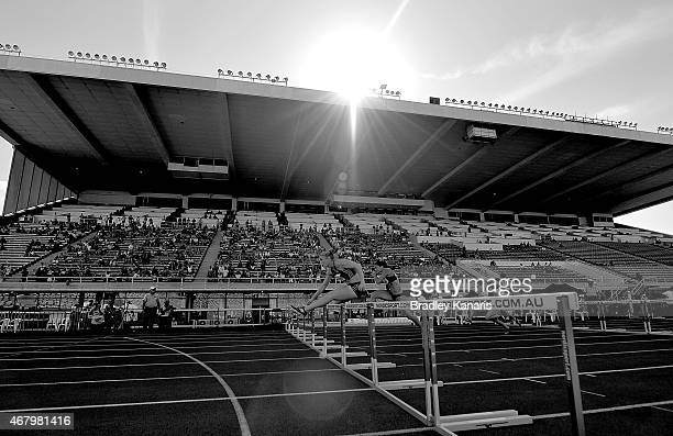 Sally Pearson competes in the final of the Women's 100m Hurdle event during the Australian Athletics Championships at the Queensland Sports and...