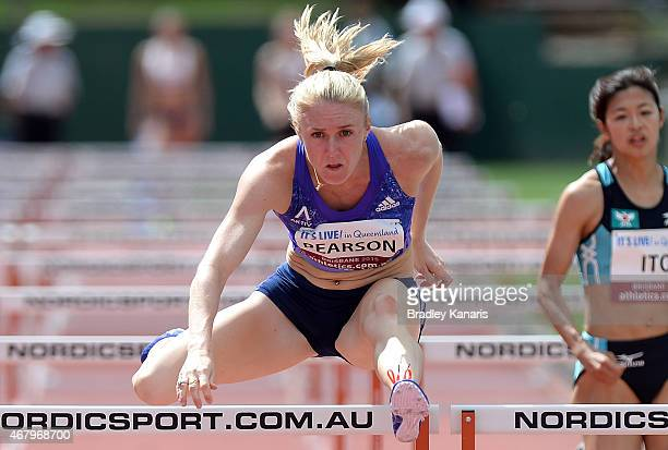 Sally Pearson competes in the heats of the Women's 110m Hurdle event during the Australian Athletics Championships at the Queensland Sports and...