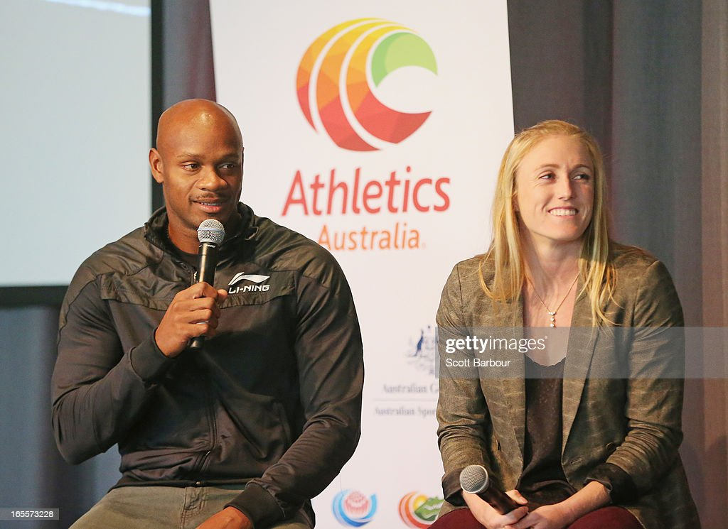 <a gi-track='captionPersonalityLinkClicked' href=/galleries/search?phrase=Sally+Pearson&family=editorial&specificpeople=200724 ng-click='$event.stopPropagation()'>Sally Pearson</a> of Australia and <a gi-track='captionPersonalityLinkClicked' href=/galleries/search?phrase=Asafa+Powell&family=editorial&specificpeople=240116 ng-click='$event.stopPropagation()'>Asafa Powell</a> of the United States speak during the John Landy Lunch on April 5, 2013 in Melbourne, Australia.