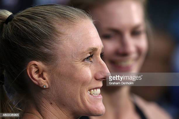 Sally Pearson of Australia and Melissa Breen of Australia smile following the Women's 100 metres Open during the IAAF Melbourne World Challenge at...