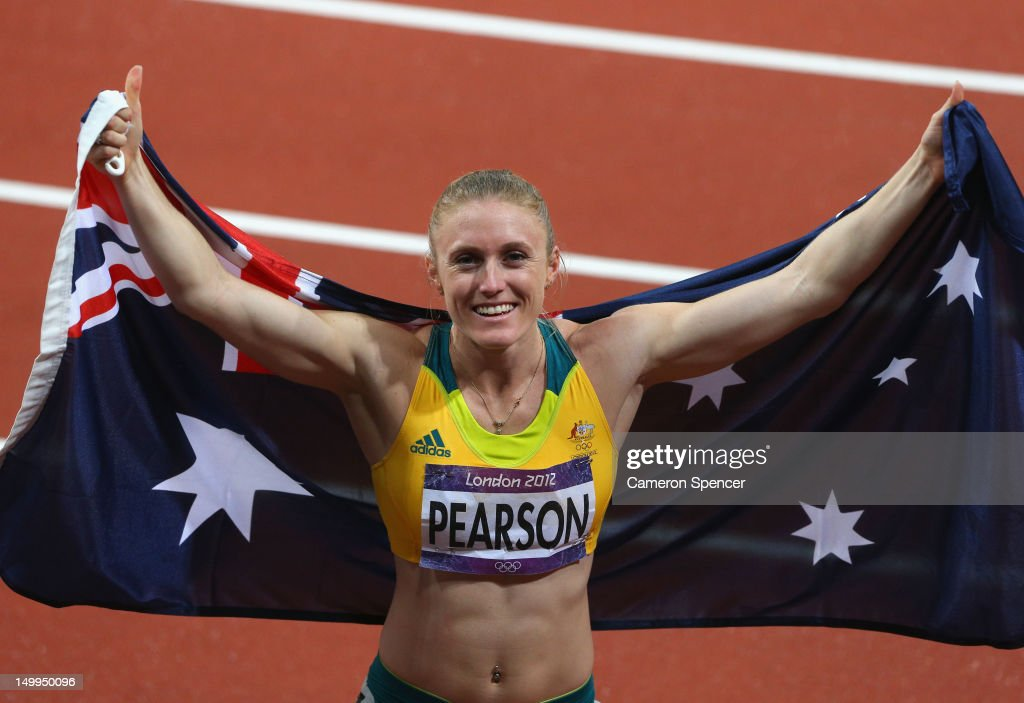<a gi-track='captionPersonalityLinkClicked' href=/galleries/search?phrase=Sally+Pearson&family=editorial&specificpeople=200724 ng-click='$event.stopPropagation()'>Sally Pearson</a> of Australia celebrates after winning the gold medal in the Women's 100m Hurdles Final on Day 11 of the London 2012 Olympic Games at Olympic Stadium on August 7, 2012 in London, England.